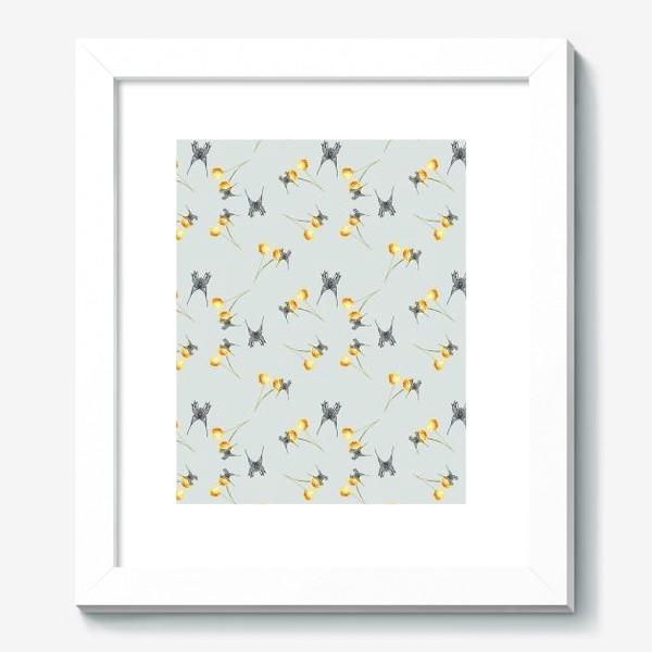 Картина «Бабочка и мимоза, серый фон, паттерн, акварель и графика»