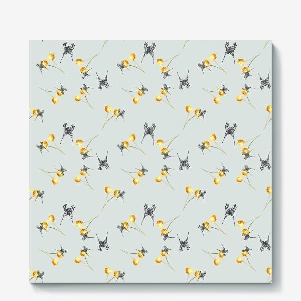 Холст «Бабочка и мимоза, серый фон, паттерн, акварель и графика»