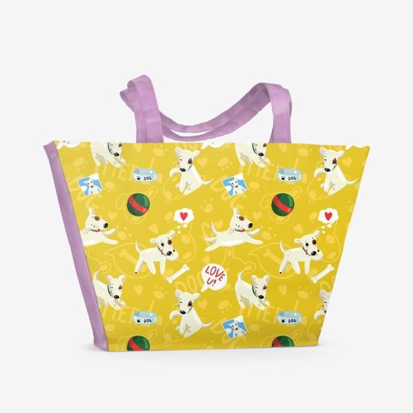 Пляжная сумка «Паттерн веселые собаки»