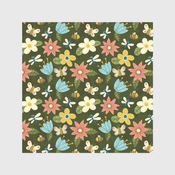 Скатерть «Цветочный паттерн с стрекозами, пчелками и бабочками»