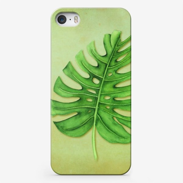 Чехол iPhone «Лист монстеры на акварельном фоне 2»