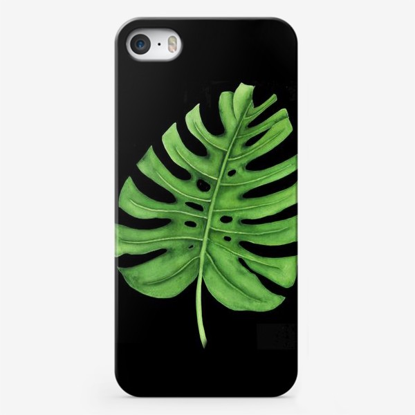 Чехол iPhone «Тропики. Лист монстеры на черном фоне»