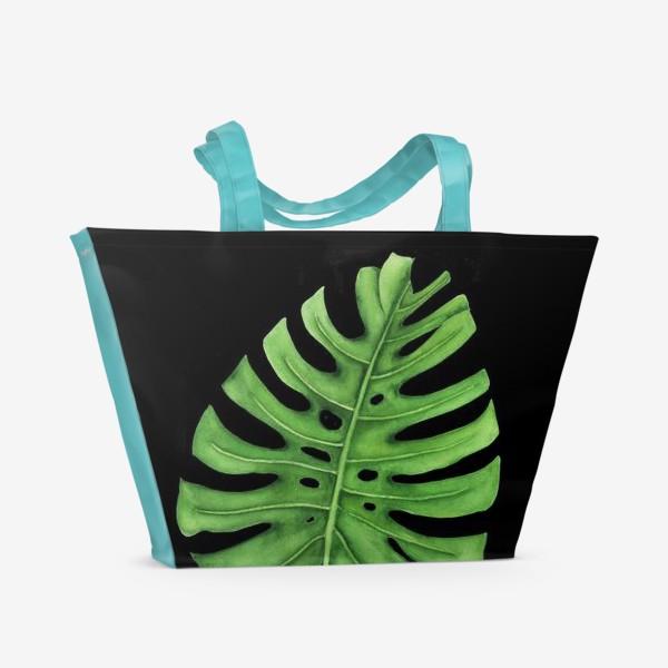 Пляжная сумка «Тропики. Лист монстеры на черном фоне»