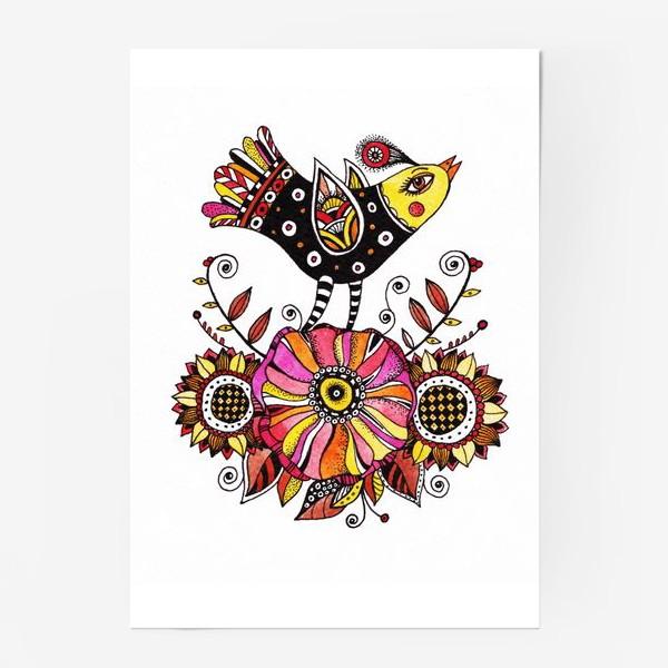 Постер «Птичка и цветы»