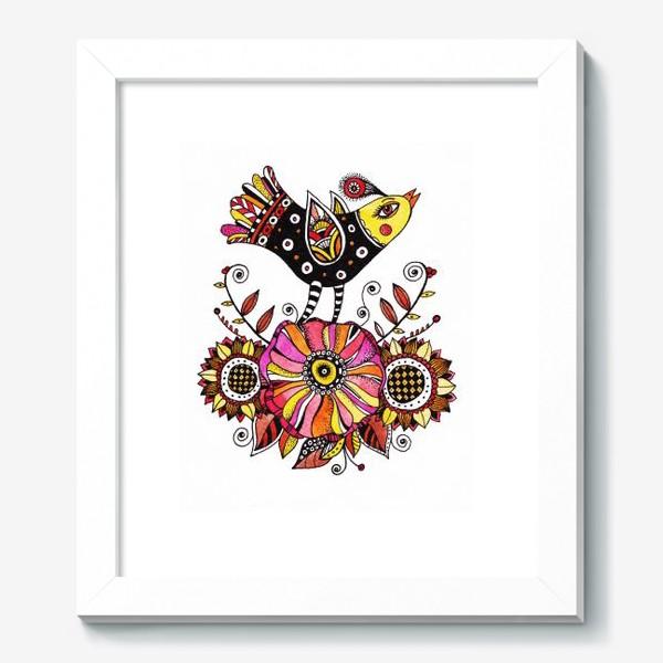 Картина «Птичка и цветы»