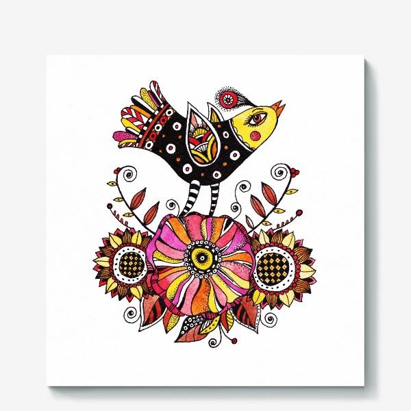 Холст «Птичка и цветы»