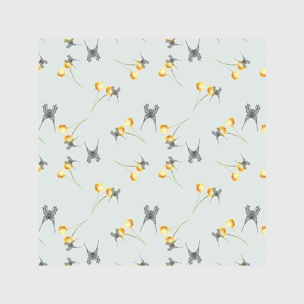 Скатерть «Бабочка и мимоза, серый фон, паттерн, акварель и графика»