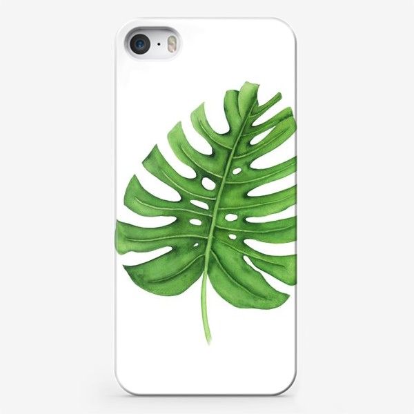 Чехол iPhone «Тропики. Лист монстеры на белом фоне»
