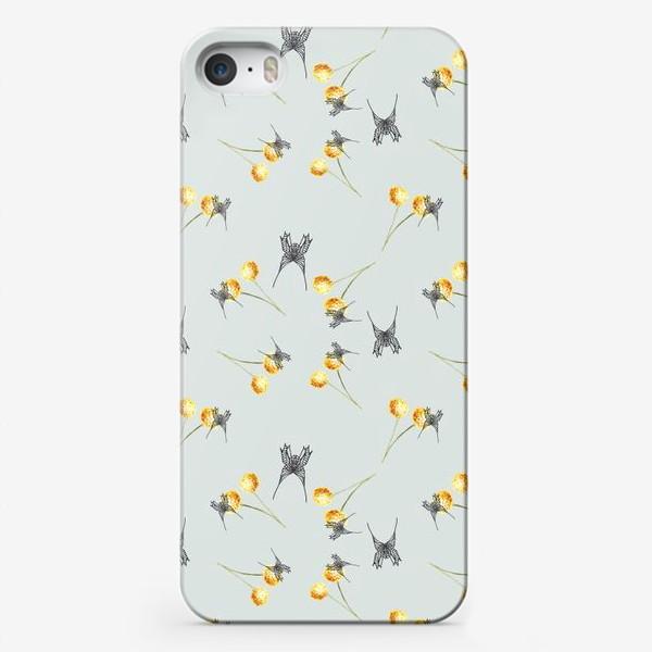 Чехол iPhone «Бабочка и мимоза, серый фон, паттерн, акварель и графика»