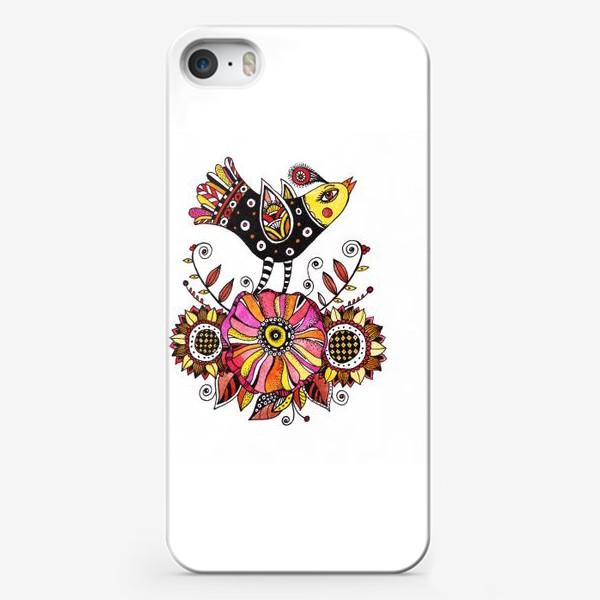 Чехол iPhone «Птичка и цветы»