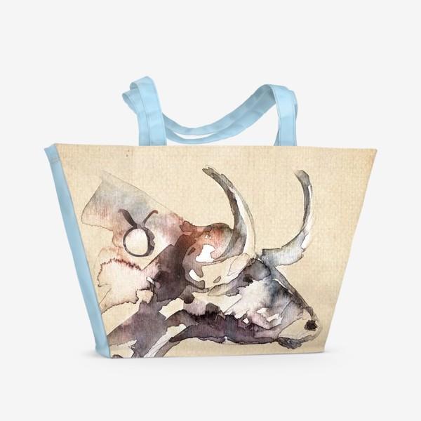 Пляжная сумка «Телец умеет упереться рогом»