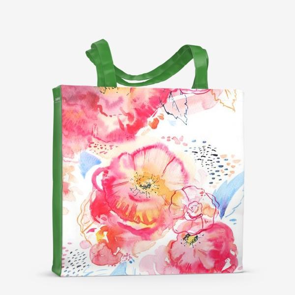 Сумка-шоппер «Розовые пионы акварель»