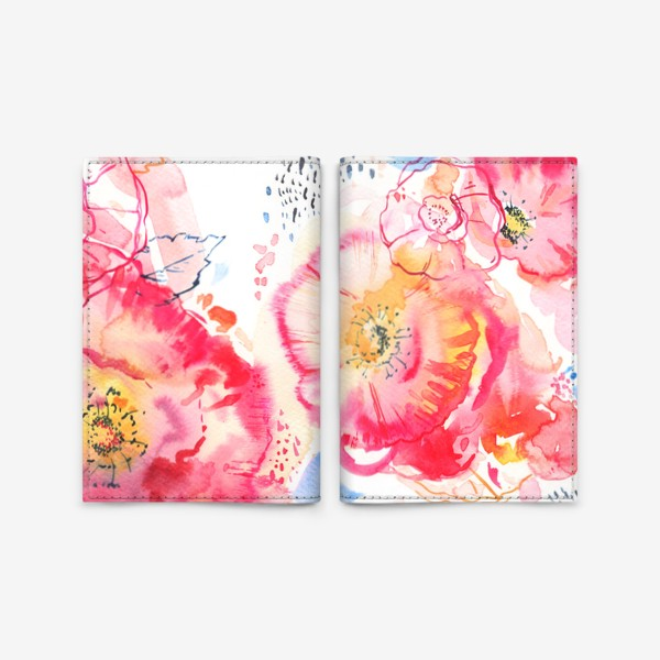 Обложка для паспорта «Розовые пионы акварель»