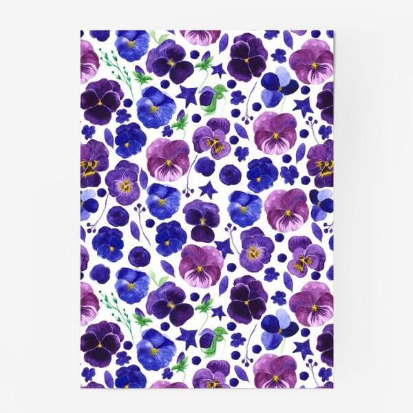 Постер «Акварельные фиолетовые цветы Анютины глазки»