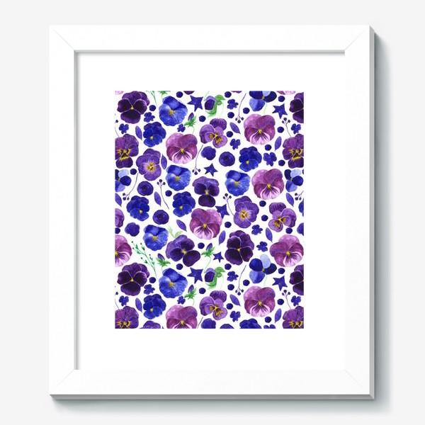 Картина «Акварельные фиолетовые цветы Анютины глазки»
