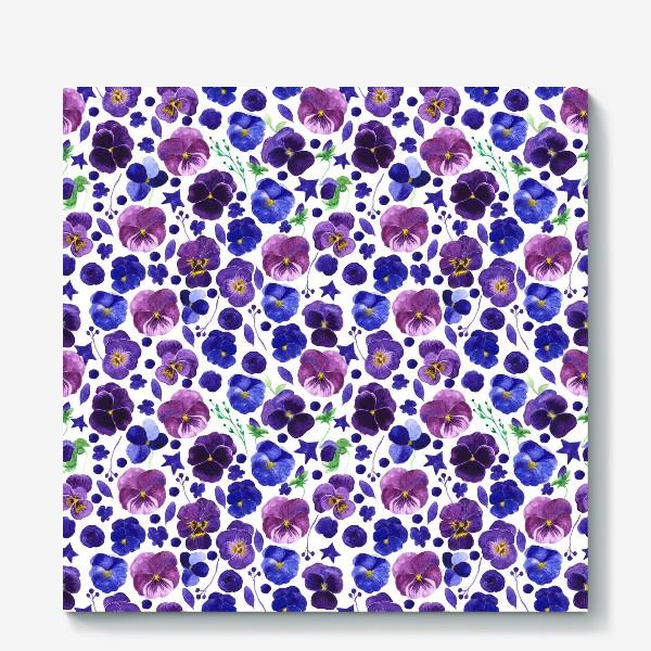 Холст «Акварельные фиолетовые цветы Анютины глазки»