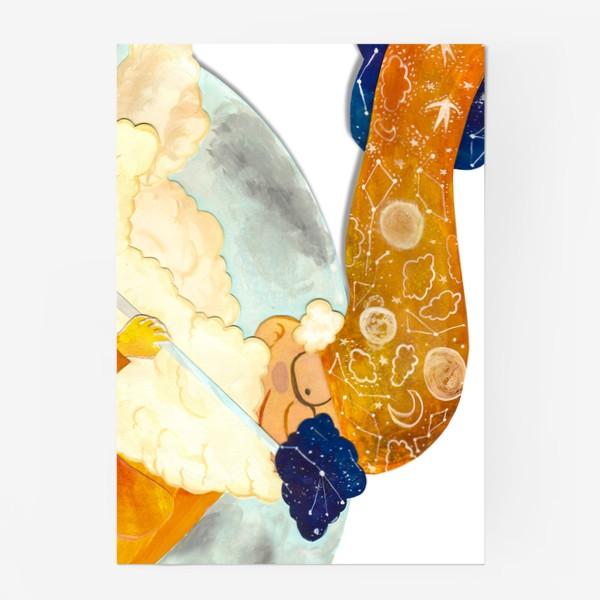 """Постер «Детская аппликация-коллаж """"Мудрый волшебник в облаках"""" (волшебная серия)»"""