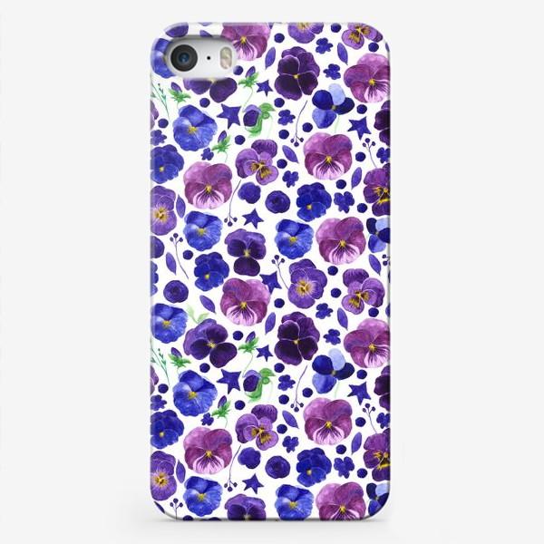 Чехол iPhone «Акварельные фиолетовые цветы Анютины глазки»