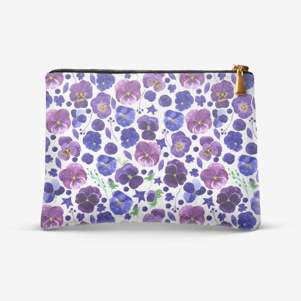 Косметичка «Акварельные фиолетовые цветы Анютины глазки»