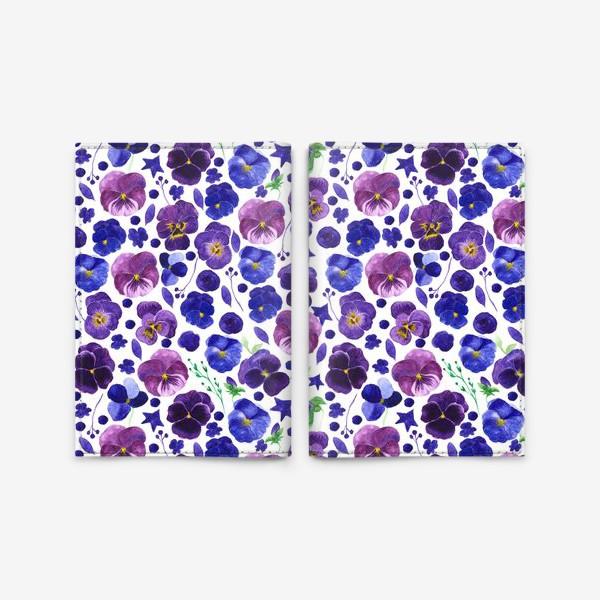 Обложка для паспорта «Акварельные фиолетовые цветы Анютины глазки»