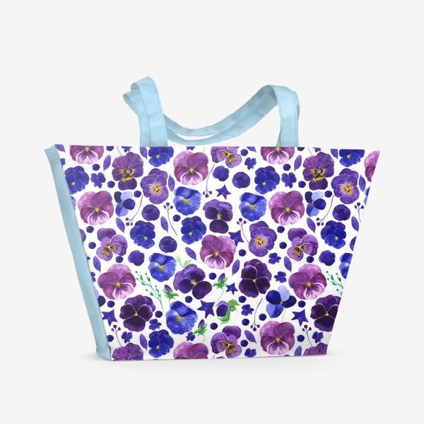 Пляжная сумка «Акварельные фиолетовые цветы Анютины глазки»