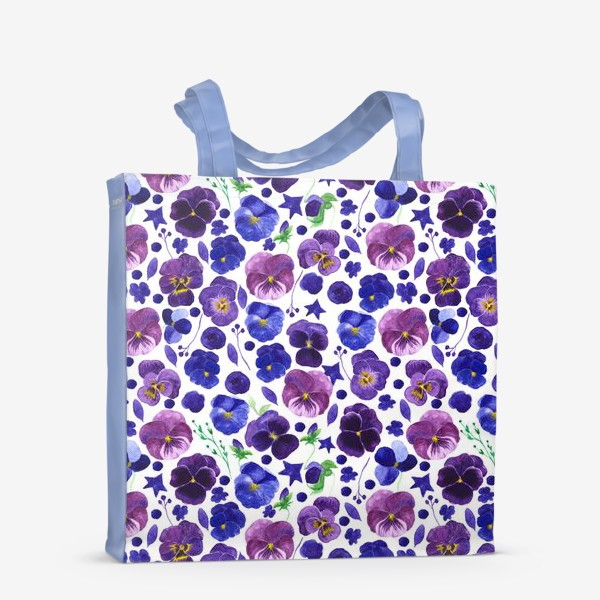 Сумка-шоппер «Акварельные фиолетовые цветы Анютины глазки»