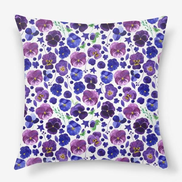 Подушка «Акварельные фиолетовые цветы Анютины глазки»