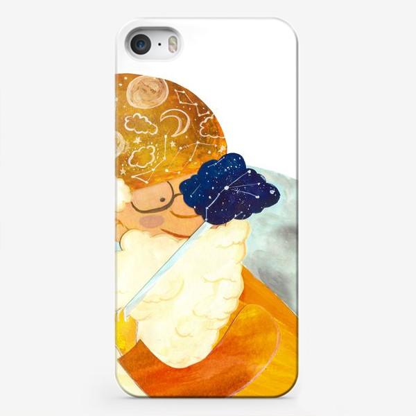 """Чехол iPhone «Детская аппликация-коллаж """"Мудрый волшебник в облаках"""" (волшебная серия)»"""