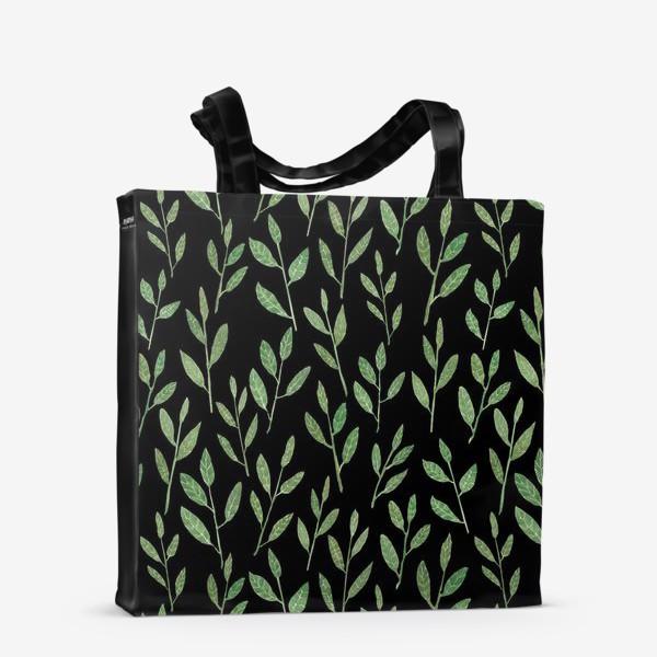Сумка-шоппер «Паттерн веточки на черном фоне»