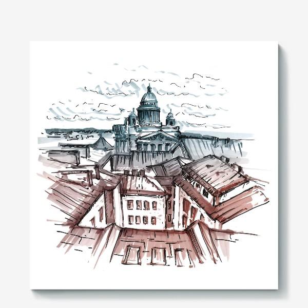 Холст «Крыши Питера. Скетч маркерами»