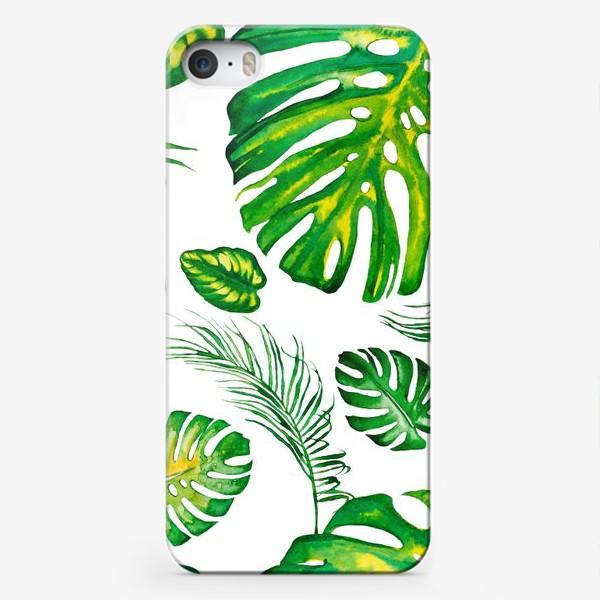 Чехол iPhone «Тропики акварелью на белом. Tropic watercolor»