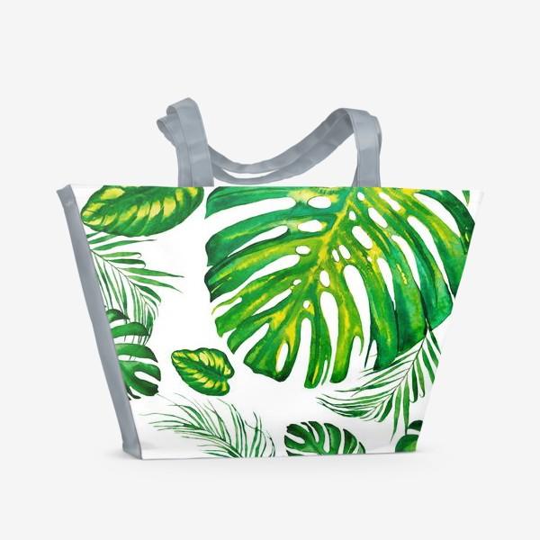 Пляжная сумка «Тропики акварелью на белом. Tropic watercolor»