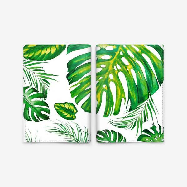 Обложка для паспорта «Тропики акварелью на белом. Tropic watercolor»