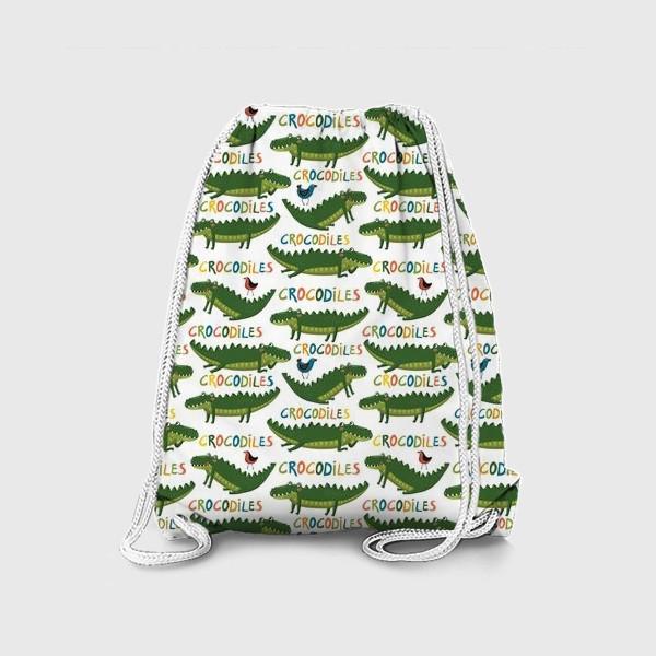 Рюкзак «Детский паттерн с крокодилами на белом фоне»