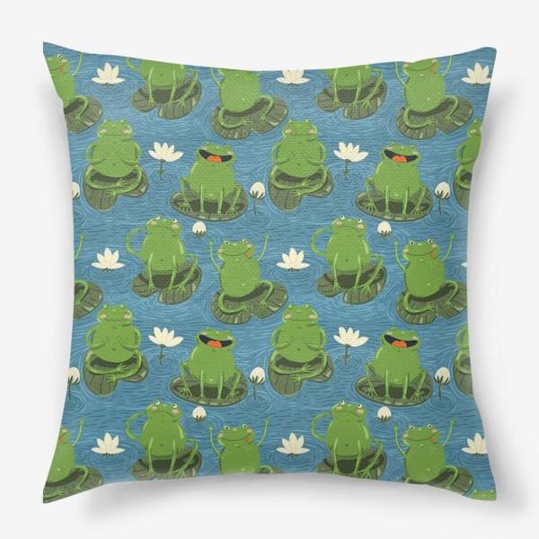 Подушка «Паттерн лягушки на пруду»