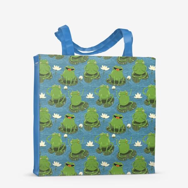 Сумка-шоппер «Паттерн лягушки на пруду»