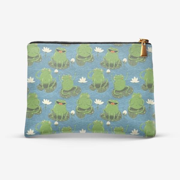 Косметичка «Паттерн лягушки на пруду»