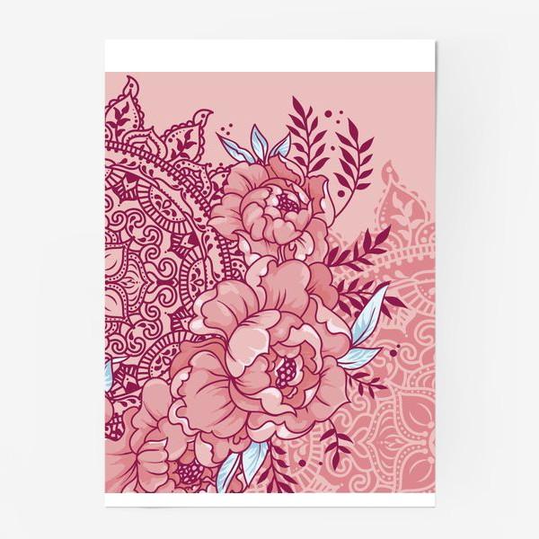Постер «Пионы и мандалы»