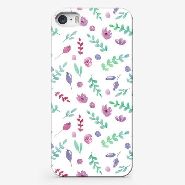 Чехол iPhone «Летний узор с цветами и ягодами»