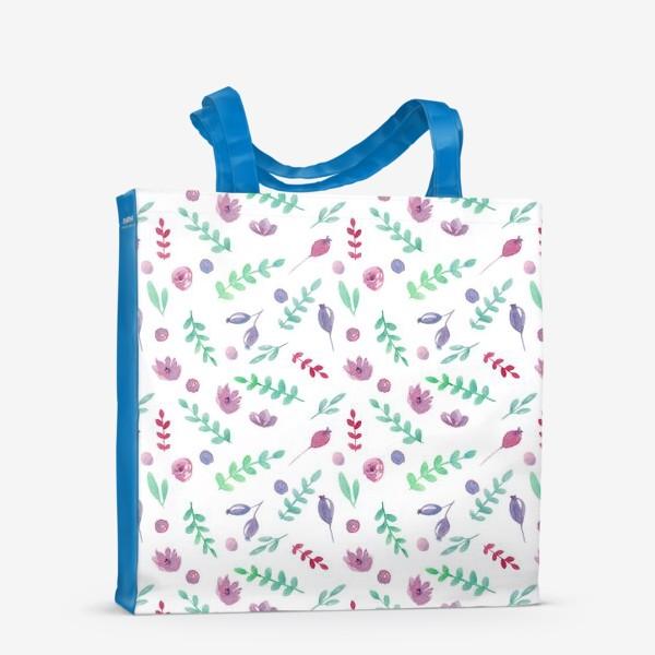 Сумка-шоппер «Летний узор с цветами и ягодами»