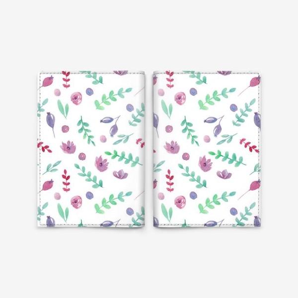 Обложка для паспорта «Летний узор с цветами и ягодами»