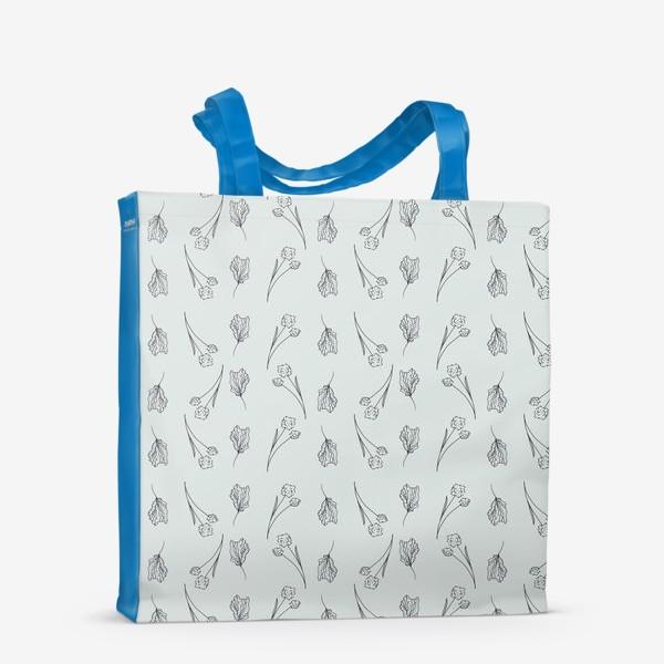 Сумка-шоппер «Цветы графика на сером, паттерн»