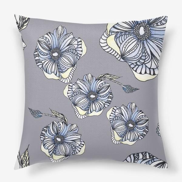 Подушка «Цветок фантазия паттерн голубой»