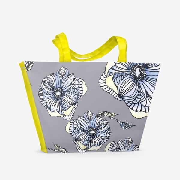 Пляжная сумка «Цветок фантазия паттерн голубой»