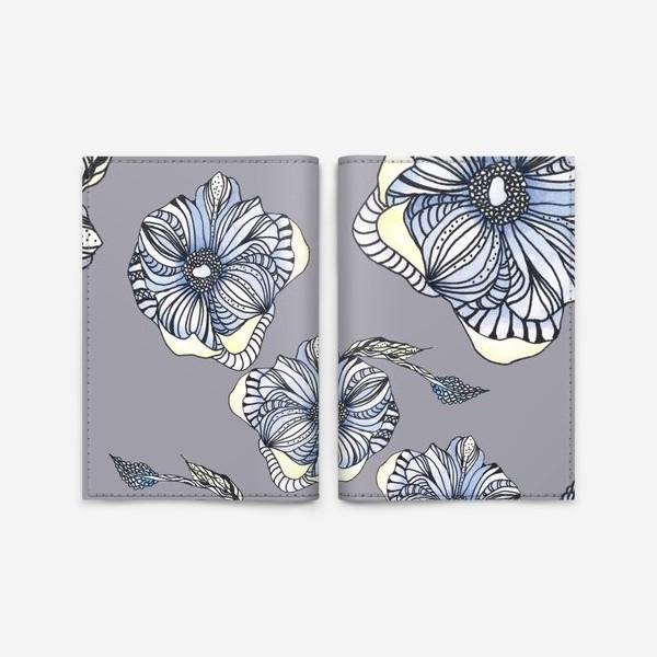 Обложка для паспорта «Цветок фантазия паттерн голубой»