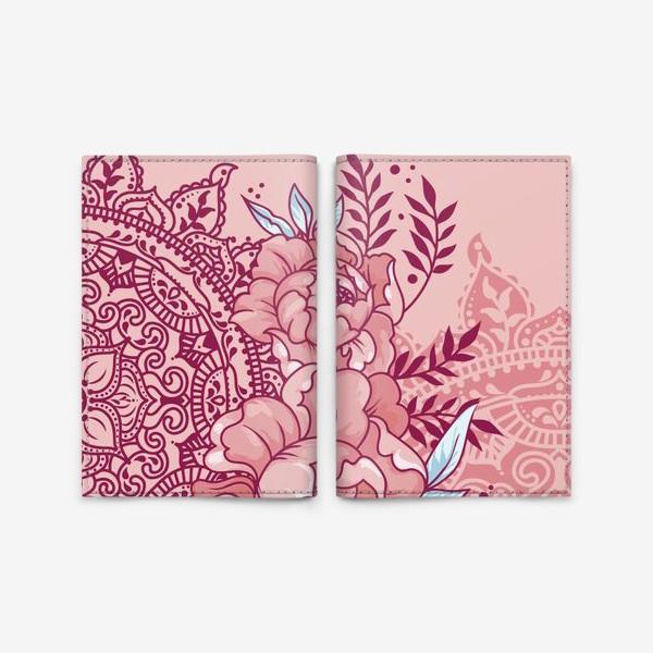 Обложка для паспорта «Пионы и мандалы»