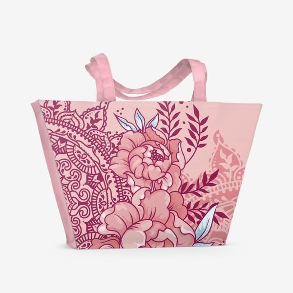 Пляжная сумка «Пионы и мандалы»