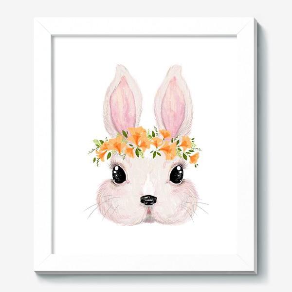 Картина «Милый кролик в цветочном венке»