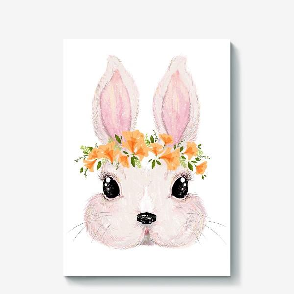 Холст «Милый кролик в цветочном венке»