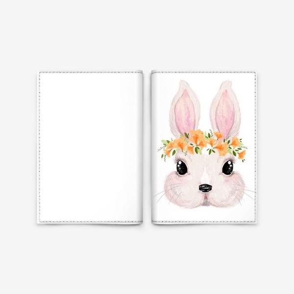 Обложка для паспорта «Милый кролик в цветочном венке»